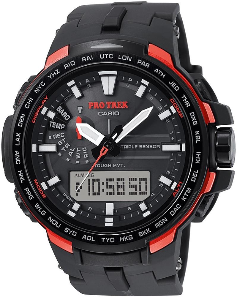 Sportowy, męski zegarek Casio ProTrek PRW-6100Y-1ER Pro Trek Mount Keith na pasku i kopercie wykonanych z tworzywa sztucznego w czarnym kolorze. Analogowo-cyfrowa tarcza jest w również w czarnym kolorze z czerwonymi akcentami. Na tarczy na godzinie dziesiątej znajduję się subtarcza, a na godzinie szóstej cyfrowego okienko ułatwiające korzystanie z zegarka. Wskazówki jak i indeksy są w biało-srebrnym kolorze.