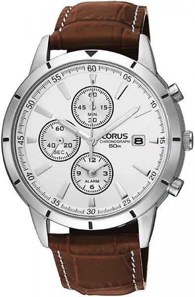 Klasyczny, męski zegarek Lorus RF325BX9 na skórzanym, brązowym pasku z wzorem krokodyla. Okragła koperta zegarka Lorus została wykonana ze stali w srebrnym kolorze. Analogowa tarcza zegarka jest srebrna z trzema subtarczami oraz datownikiem na godzinie trzeciej. Wskazówki jak i indeksy są w srebrnym kolorze.
