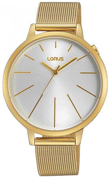 Elegancki, damski zegarek Lorus RG204KX9 na stalowej bransolecie pokrytej PVD w złotym kolorze oraz kopercie z mosiądzu z powłoka PVD również w złotym kolorze. Analogowa tarcza jest w białym kolorze ze złotymi indeksami jak i wskazówkami w postaci cienkich kresek.