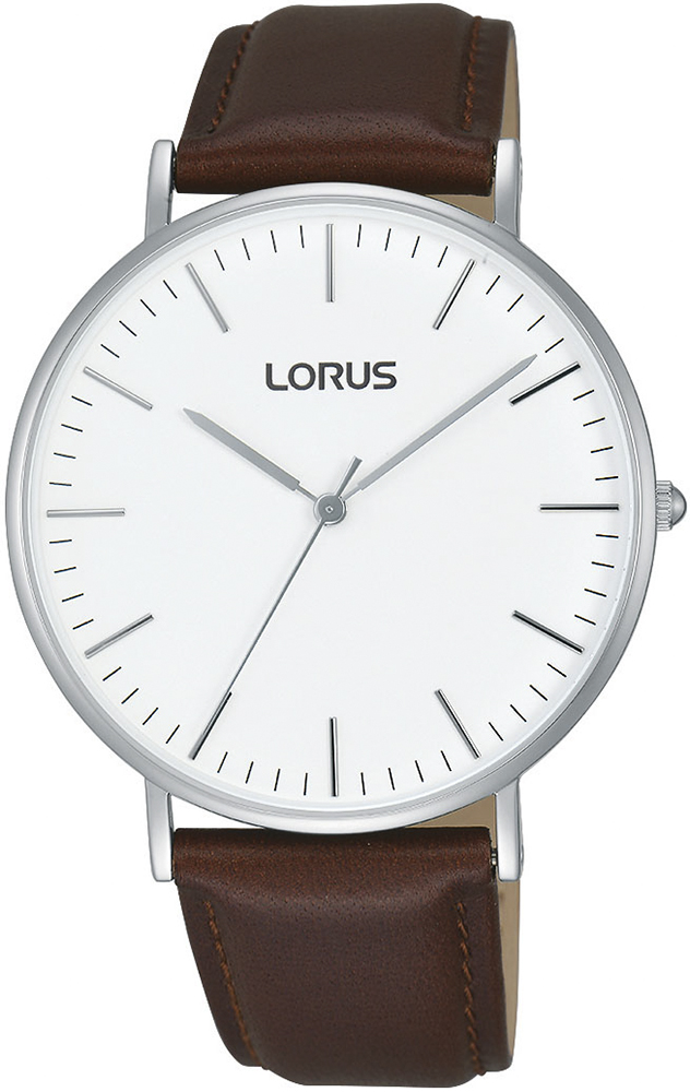 Klasyczny, męski zegarek Lorus RH881BX9 Fashion na skórzanym brązowym pasku z koperta wykonaną ze stali w srebrnym kolorze. Analogowa tarcza zegarka w minimalistycznym stylu jest w białym kolorze z srebrnymi wskazówkami w postaci kresek.