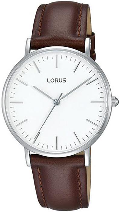 Klasyczny, damski zegarek Lorus RH885BX9 na skórzanym pasku w brązowym kolorze z koperta wykonana ze stali w srebrnym kolorze. Analogowa tarcza zegarka jest minimalistyczna w białym kolorze z srebrnymi indeksami oraz wskazówkami w postaci kresek.