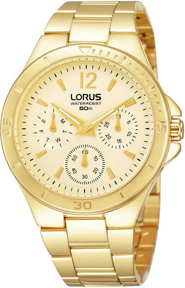 Elegancki, damski zegarek Lorus RP610BX9 Fashion na bransolecie z kopertą wykonanych ze stali w złotym kolorze. Analogowa tarcza zegarka jest złota z trzema subtarczami. Wskazówki jak i indeksy są w kolorze złotym.