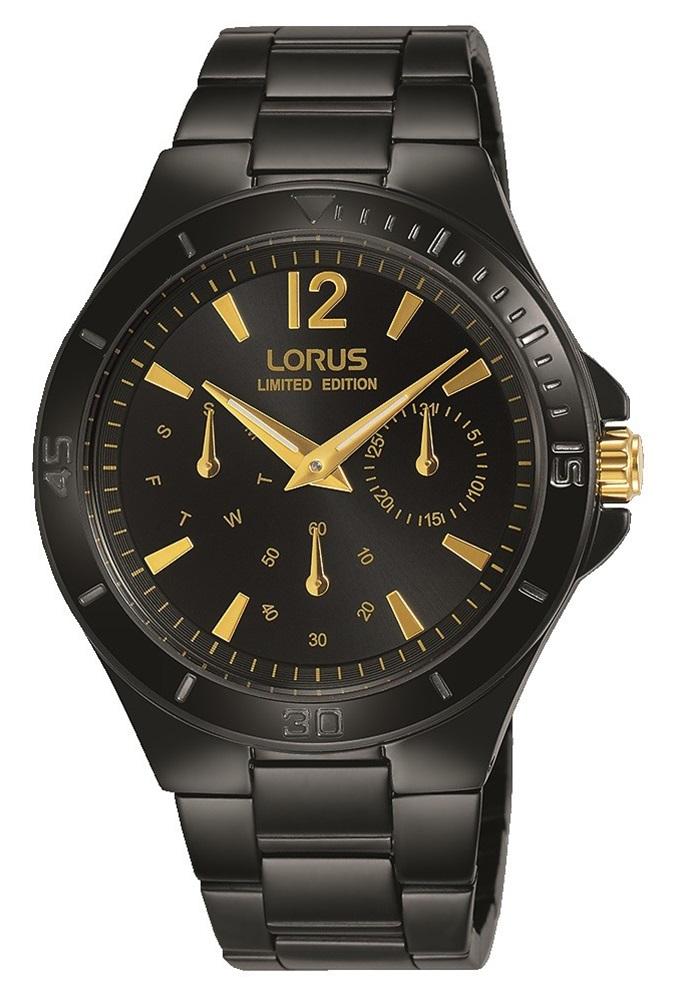Elegancki, damski zegarek Lorus RP693CX9 Limited Edition na czarnej stalowej kopercie i bransolecie. Analogowa tarcza zegarka w kolorze czarnym jest ozdobiona złotymi indeksami, wskazówkami jak i subtarczami.