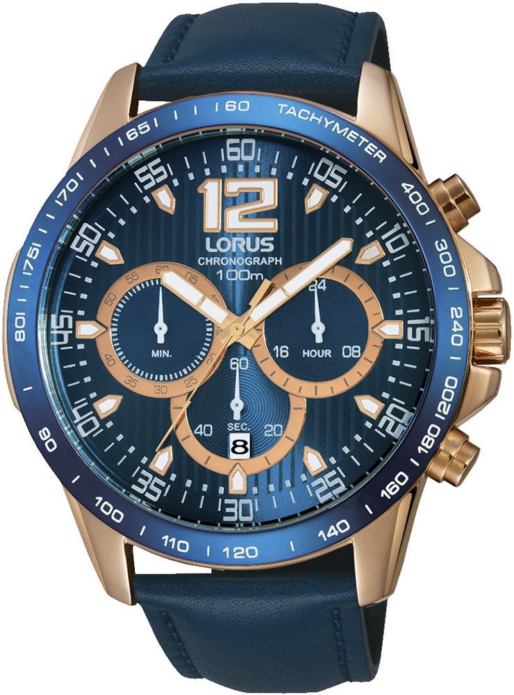 Klasyczny, męski zegarek Lorus RT342EX9 na skórzanym niebieskim pasku z okrągłą kopertą wykonaną ze stali w złotym kolorze. Niebieska tarcza zegarka jest analogowa z trzema subtarczami oraz datownikiem na godzinie szóstej. Indeksy jak i wskazówki są złoto-białe.