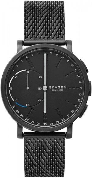 Modny jak i elegancki, męski zegarek Skagen SKT1109 HAGEN CONNECTED na czarnej stalowej bransolecie typu mesh oraz okrągłej, stalowej koperty w czarnym kolorze. Analogowa tarcza zegarka jest w czarnym kolorze z jedną subtarczą z detalami w białym jak i niebieskim kolorze.