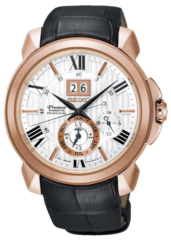 Luksusowy, męski zegarek Seiko SNP150P1 na czarnym pasku ze skóry oraz koperta wykonaną ze stali w kolorze różowego złota. Analogowa tarcza jest w białym kolorze z dwiema subratczami w kolorze różowego złota jak i bieli. Na godzinie dwunastej znajduje się datownik pokazujący dzień miesiąca. Indeksy na zegarku Seiko zapisane są w kolorze różowego złota i czerni, a wskazówki w czerni jak pasek zegarka.
