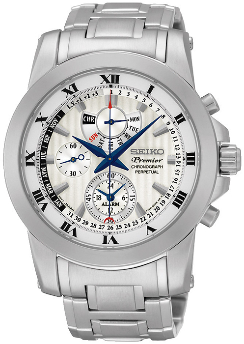 Elegancki, męski zegarek Seiko SPC159P1 Chronograph Perpetual na bransolecie oraz kopercie wykonanych ze stali w srebrnym kolorze. Analogowa tarcza zegarka jest biała z trzema subtarczami oraz datownikiem. Wskazówki sa w kolorze niebieskim a indeksy w czarnym.