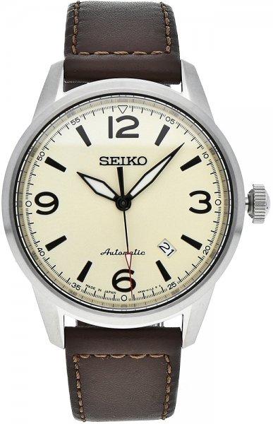 Luksusowy, męski zegarek Seiko Automatic SRPB03J na skórzanym pasku w brązowym kolorze, srebrną stalową kopertą oraz tarczą analogową w beżowym kolorze z datownikiem.