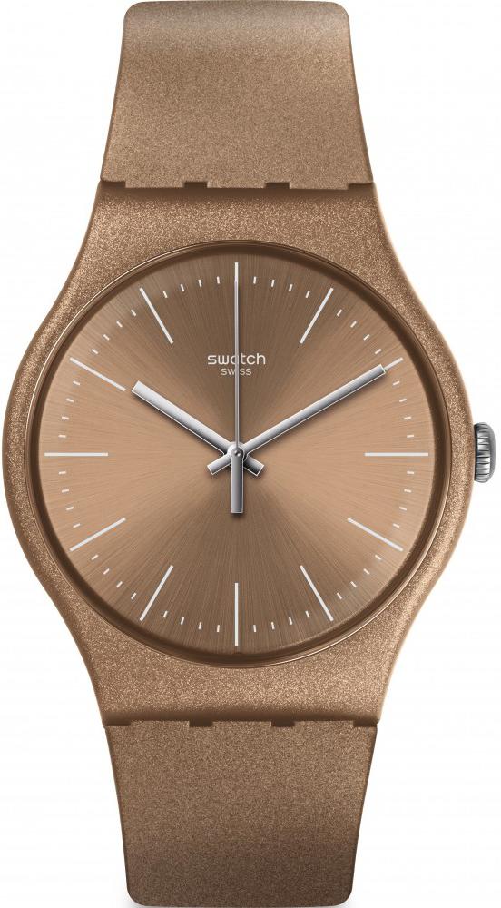 Interesujący zegarek Swatch SUOM111 POWDERBAYANG z kwarcowym mechanizmem na pasku oraz kopercie z tworzywa sztucznego w kolorze brązowym.