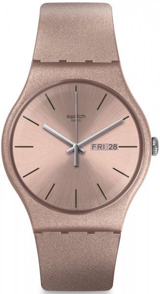 Młodzieżowy, damski zegarek Swatch SUOP704 PINKBAYANG na pasku z kopertą wykonanych z tworzywa sztucznego. Analogowa tarcza zegarka jest w takim samym kolorze co pasek. Na tarczy widnieje również datownik na godzinie trzeciej a wskazówki zegarka są w srebrnym kolorze.