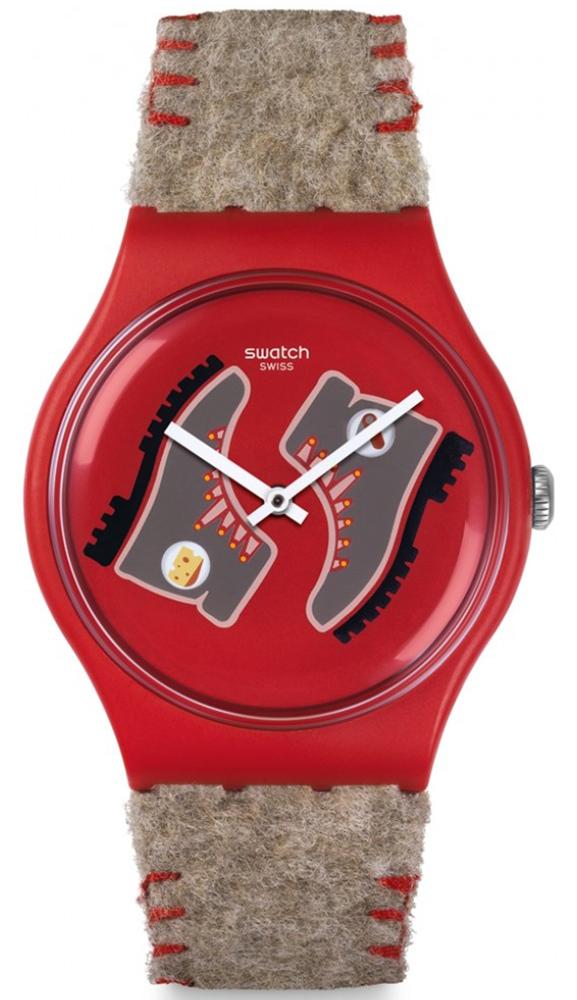 Modowy, damski zegarek Swatch SUOR708 Randonneuer na skórzanym pasku w brązowym kolorze. Koperta zegarka jest czerwona, wykonana z tworzywa sztucznego. Tarcza zegarka jest czerwona z rysunkami butów oraz białymi wskazówkami.