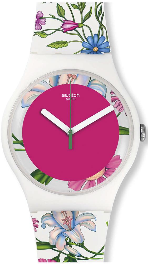 Piękny, damski zegarek Swatch SUOW127 FIORINELLA na pasku oraz z kopertą wykonaną z tworzywa sztucznego ozdobionych w kwiatki w różnych kolorach. Tarcza zegarka jest intensywnie różowa z białymi oraz zieloną wskazówką.