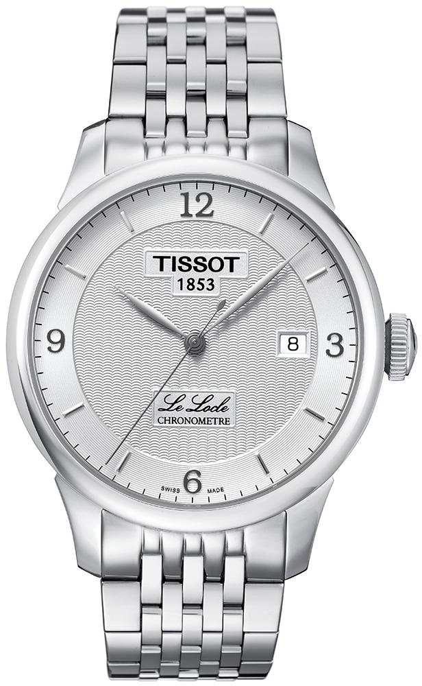 Elegancki, damski zegarek Tissot T006.408.11.037.00 LE LOCLE AUTOMATIC COSC na bransolecie oraz kopercie wykonanych ze stali w srebrnym kolorze. Giloszowana tarcza zegarka jest analogowa w srebrnym kolorze z datownikiem na godzinie trzeciej. Indeksy są w czarnym kolorze podczas gdy wskazówki w srebrnym.