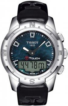 Sportowy, damski zegarek Tissot T047.220.46.126.00 T-TOUCH II TITANIUM na skórzanym czarnym pasku z koperta wykonaną z tytanu w srebrnym kolorze. Cyfrowo-analogowa tarcza zegarka jest w zielono-niebieskim kolorze z diamentami. Tarcza zegarka również na dotykowa.