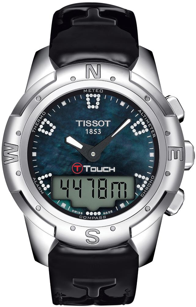 Sportowy, damski zegarek Tissot T047.220.46.126.00 T-TOUCH II TITANIUM na skórzanym pasku z okrągłą tytanową kopertą w srebrnym kolorze. Cyfrowo-analogowa tarcza jest niebieska z czarnymi wskazówkami.