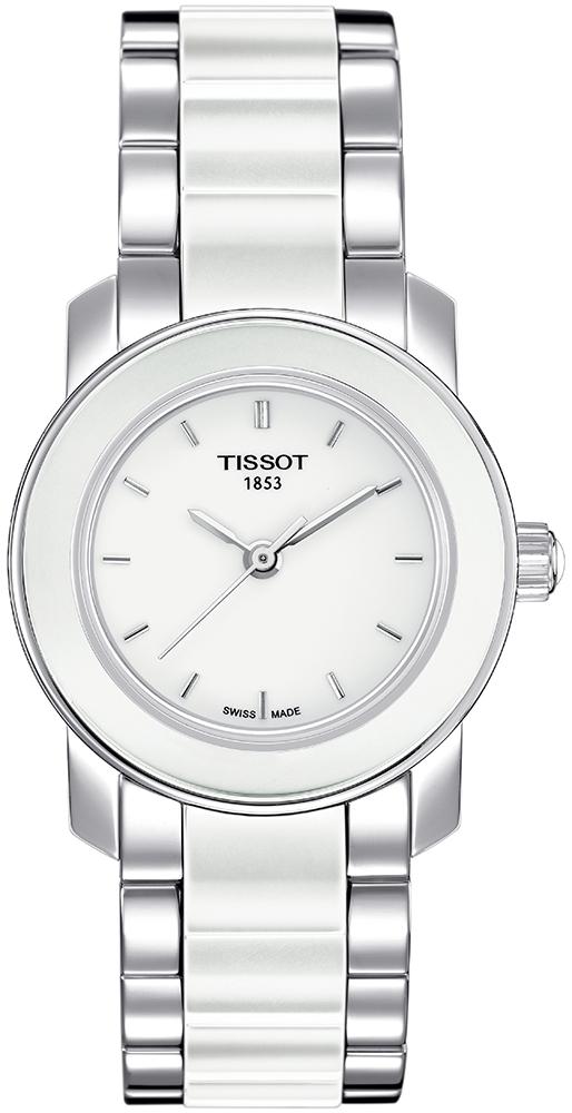 Elegancki, damski zegarek Tissot T064.210.22.011.00 CERA na bransolecie jak i kopercie wykonanych ze srebrnej stali oraz ceramiki w białym kolorze. Analogowa tarcza zegarka jest w białym kolorze z ceramiki z wskazówkami oraz indeksami w srebrnym kolorze.