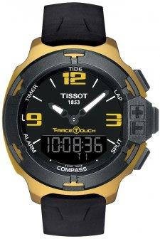 Niezawodny, męski zegarek Tissot T081.420.97.057.07 T-RACE TOUCH na silikonowym pasku w czarnym kolorze. Koperta zegarka została wykonana z aluminium, a tarcza zegarka jest cyfrowo-analogowa z dotykowym ekranem, również w czarnym kolorze.