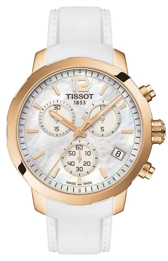 Elegancki zegarek Tissot T095.417.37.117.00 w sportowym stylu. Stalowa pokryta tarcza powłoką PVD idealnie komponuje się z paskiem, który wykonany jest z tworzywa sztucznego w białym kolorze.