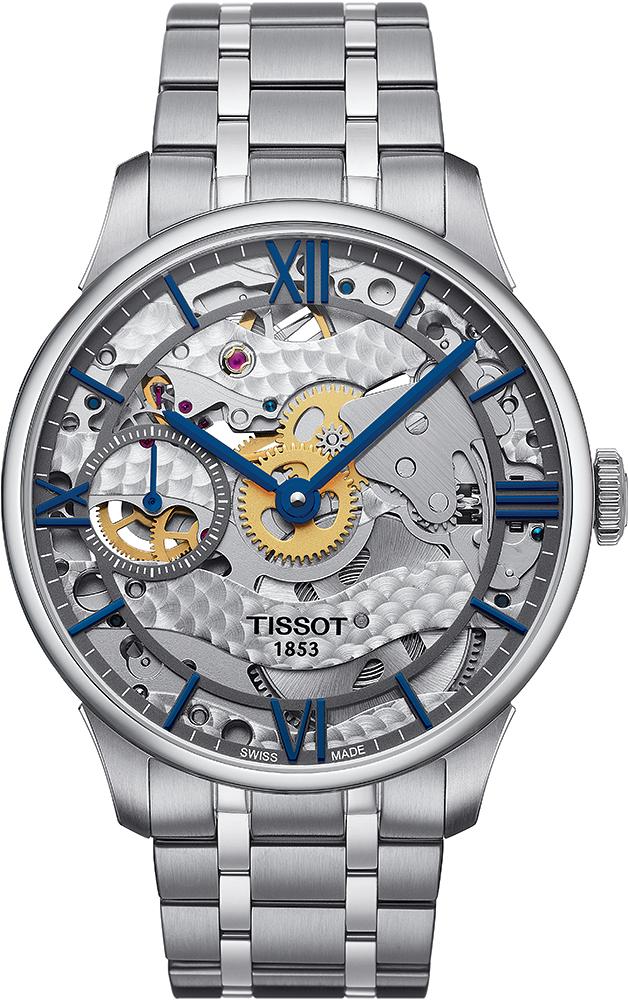 Luksusowy zegarek Tissot T099.405.11.418.00 Chemin Des Tourelles Squelette Mechanical z mechanizmem mechanicznym z kopertą oraz srebrną bransoletą ze stali.