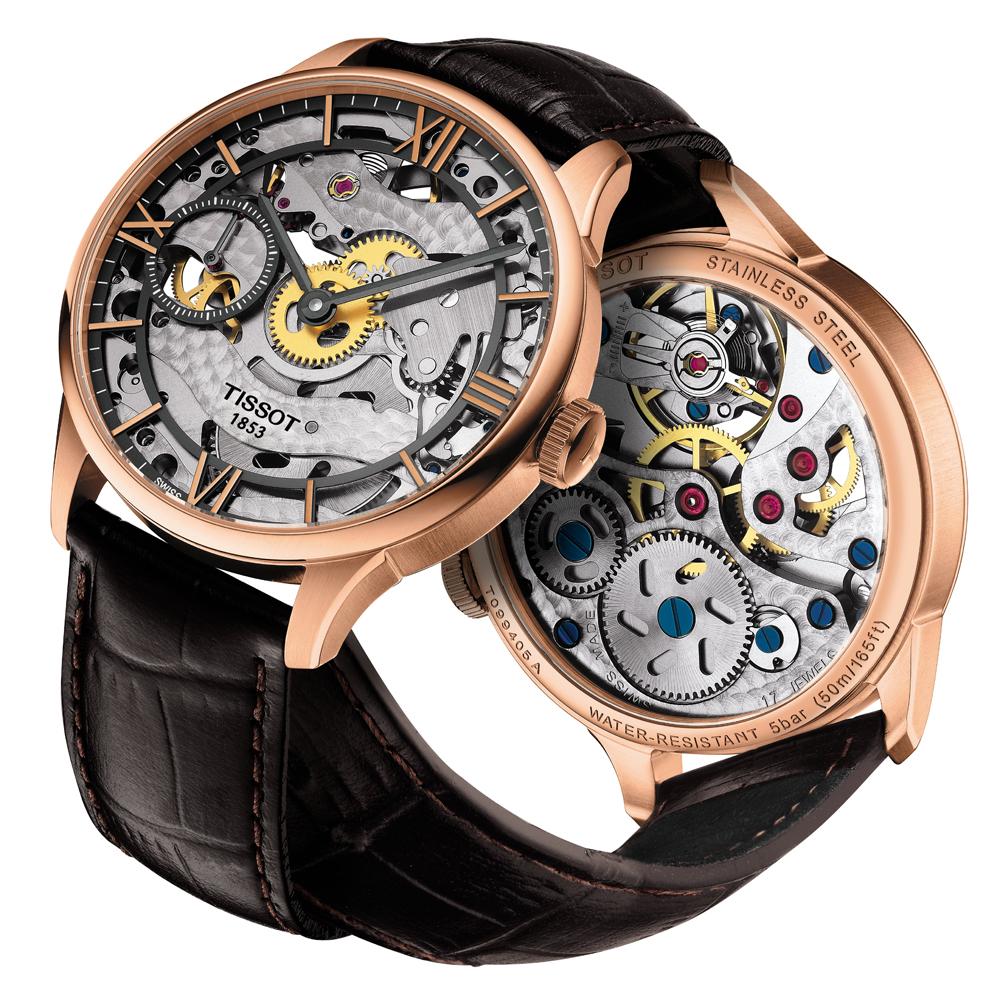 Elegancki zegarek Tissot T099.405.36.418.00 Chemin Des Tourelles Squelette Mechanical ze stalowa koperta pokrytą PVD w kolorze różowego złota, na skórzanym brązowym pasku.