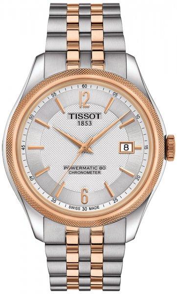 Elegancki, damski zegarek Tissot Ballade Powermatic 80 na klasycznej bransolecie ze stali w srebrnym kolorze z paskami w kolorze różowego złota. Bezel zegarka jest w kolorze różowego złota jednakże tarcza w srebrnym. Zegarek ten od poprzedniego różni się tym, że jest większy.