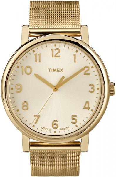 Elegancki, damski zegarek Timex T2N598 Originals Mesh na stalowej bransolecie typu mesh oraz kopertą wykonanych ze stali z powłoką PVD w złotym kolorze. Analogowa tarcza zegarka jest w złotym kolorze ze złotymi wskazówkami jak i indeksami.