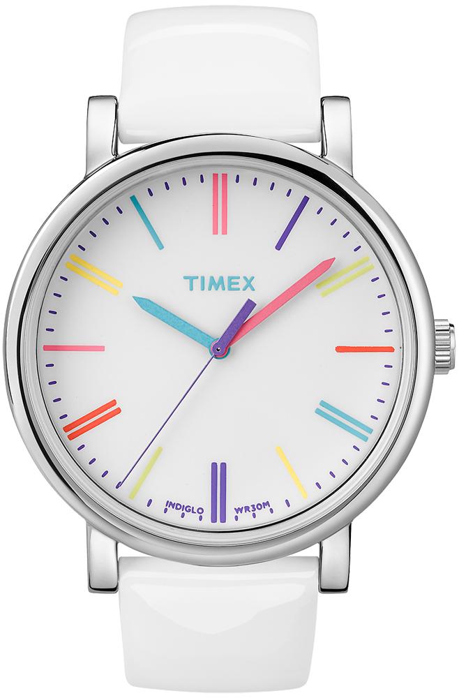 Modny, damski zegarek Timex T2N791 Originals białym pasku wykonanym ze skóry oraz okrągłą kopertą ze stali w srebrnym kolorze. Analogowa tarcza jest w białym kolorze z kolorowymi indeksami jak i wskazówkami.