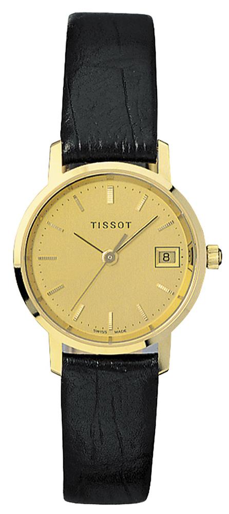 Luksusowy, damski zegarek Tissot T71.2.114.21 GOLDRUN na skórzanym, czarnym pasku z złota kopertą ze złota jak i tarczą. Wskazówki jak i indeksy są również wykonane z złotego złota.