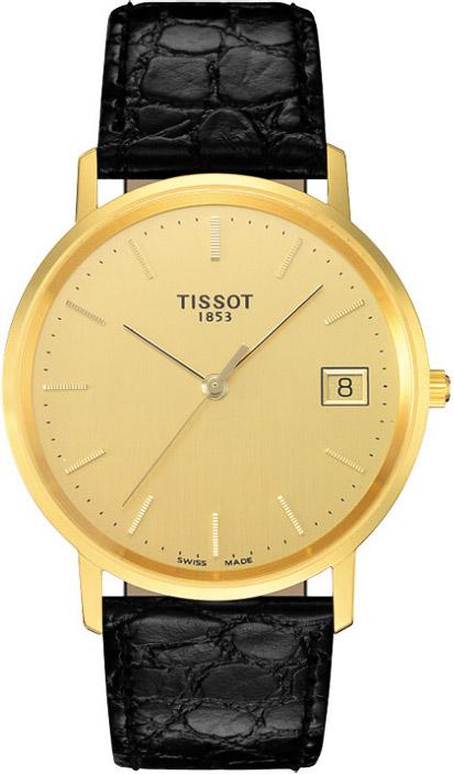 Elegancki, męski zegarek Tissot T71.2.411.21 Goldrun na skórzanym, czarnym pasku oraz kopercie wykonanej ze złota. Analogowa tarcza zegarka jest w kolorze złota z datownikiem na godzinie trzeciej.