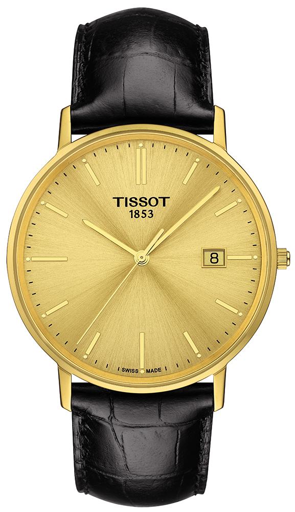 Klasyczny, męski zegarek Tissot T922.410.16.021.00 GOLDRUN GENT SAPPHIRE na czarnym pasku ze skóry oraz kopercie wykonanej z prawdziwego złota w złotym kolorze. Analogowa tarcza jest również wykonana ze złota w złotym kolorze ze złotymi indeksami oraz wskazówkami. Zegarek posiada również datownik na godzinie trzeciej.
