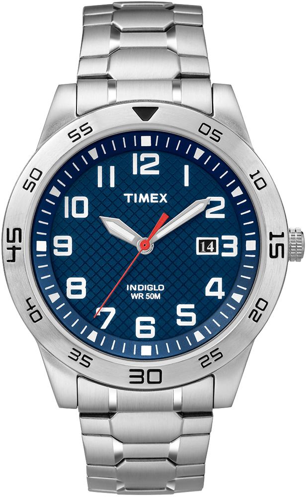 Sportowy, męski zegarek Timex TW2P61500 Fieldstone Way na rozciąganej, srebrnej bransolecie z stalowa okrągłą kopertą również w srebrnym kolorze. Analogowa tarcza zegarka jest w niebieskim kolorze z datownikiem. Wskazówki oraz indeksy są w białym kolorze.