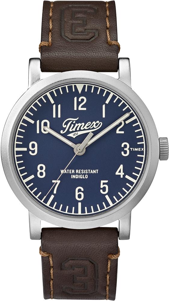 Retro, zegarek męski Timex TW2P96600 Originals University na skórzanym brązowym pasku z okrągłą, stalową kopertą w srebrnym kolorze. Analogowa tarcza zegarka jest w niebieskim kolorze z czytelnymi indeksami jak i wskazówkami w biało-srebrnym kolorze.