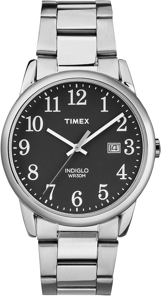 Amerykański, męski zegarek Timex Easy Reader na klasycznej srebrnej bransolecie ze stali i kopercie w tym samym kolorze również ze stali. Analogowa tarcza zegarka jest w czarnym kolorze z białymi indeksami jak i wskazówkami. zegarek posiada również mały datownik pokazujący dzień tygodnia.