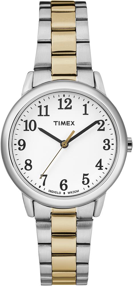 Modny, damski zegarek Timex Easy Reader na klasycznej bransolecie ze stali w kolorze złotym i srebrnym. Koperta zegarka jest ze stali w srebrnym kolorze z analogowa biała tarczą oraz czarnymi indeksami i wskazówkami w czarnym i złotym kolorze.