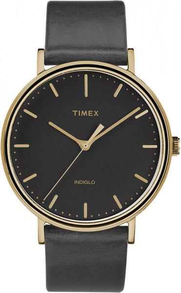 Modowy, męski zegarek Timex TW2R26000 na skórzanym pasku w czarnym kolorze, koperci w złotym kolorze oraz czarną tarczą z złotymi indeksami oraz wskazówkami.
