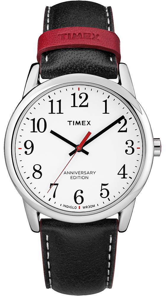 Elegancki, męski zegarek Timex Easy Reader stworzony na 40 rocznicę na skórzanym pasku z srebrna koperta oraz biała analogowa tarczą z czarnymi czytelnymi indeksami i czerwoną wskazówką sekundnika.