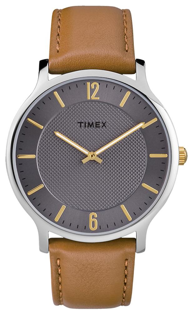 Zegarek Timex TW2R51100 z mechanizmem kwarcowym na brązowym skórzanym pasku z srebrną kopertą i szarą tarczą.