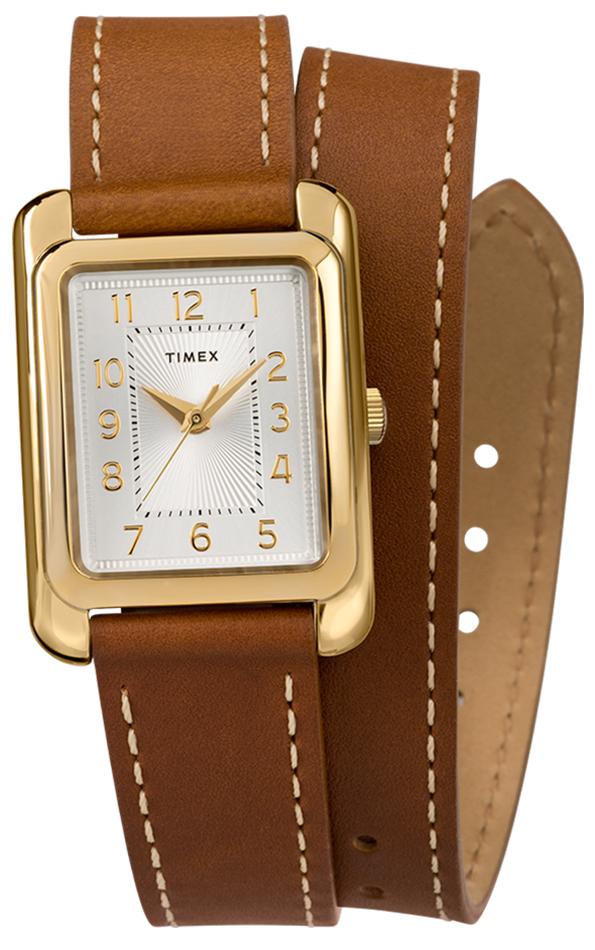Atrakcyjny, damski zegarek Timex TW2R89900 z kwarcowym mechanizmem na skórzanym, brązowym pasku z zapięciem na sprzączkę