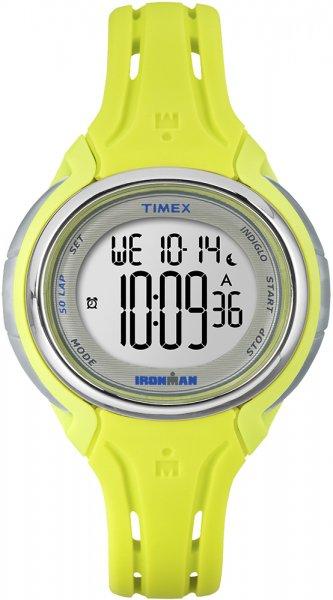 Damski zegarek Timex Ironman do biegania z kopertą i paskiem z tworzywa sztucznego w kolorze limonkowym. Zegarek Timex Ironman posiada cyfrową tarczę.