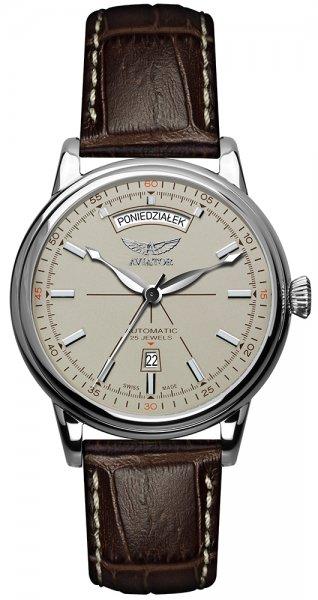 Lotniczy, męski zegarek Aviator V.3.20.0.141.4-PL Polska Edycja Limitowana na pasku ze skóry w brązowym kolorze z wzorem skóry aligatora. Okrągła koperta zegarka jest w srebrnym kolorze ze stali, a sama tarcza analogowa. Tarcza została zainspirowana lotnictwem i jest w beżowym kolorze. Indeksy jak i wskazówki są w srebrnym kolorze a na godzinie szóstej znajduję się datownik pokazujący dni miesiąca.