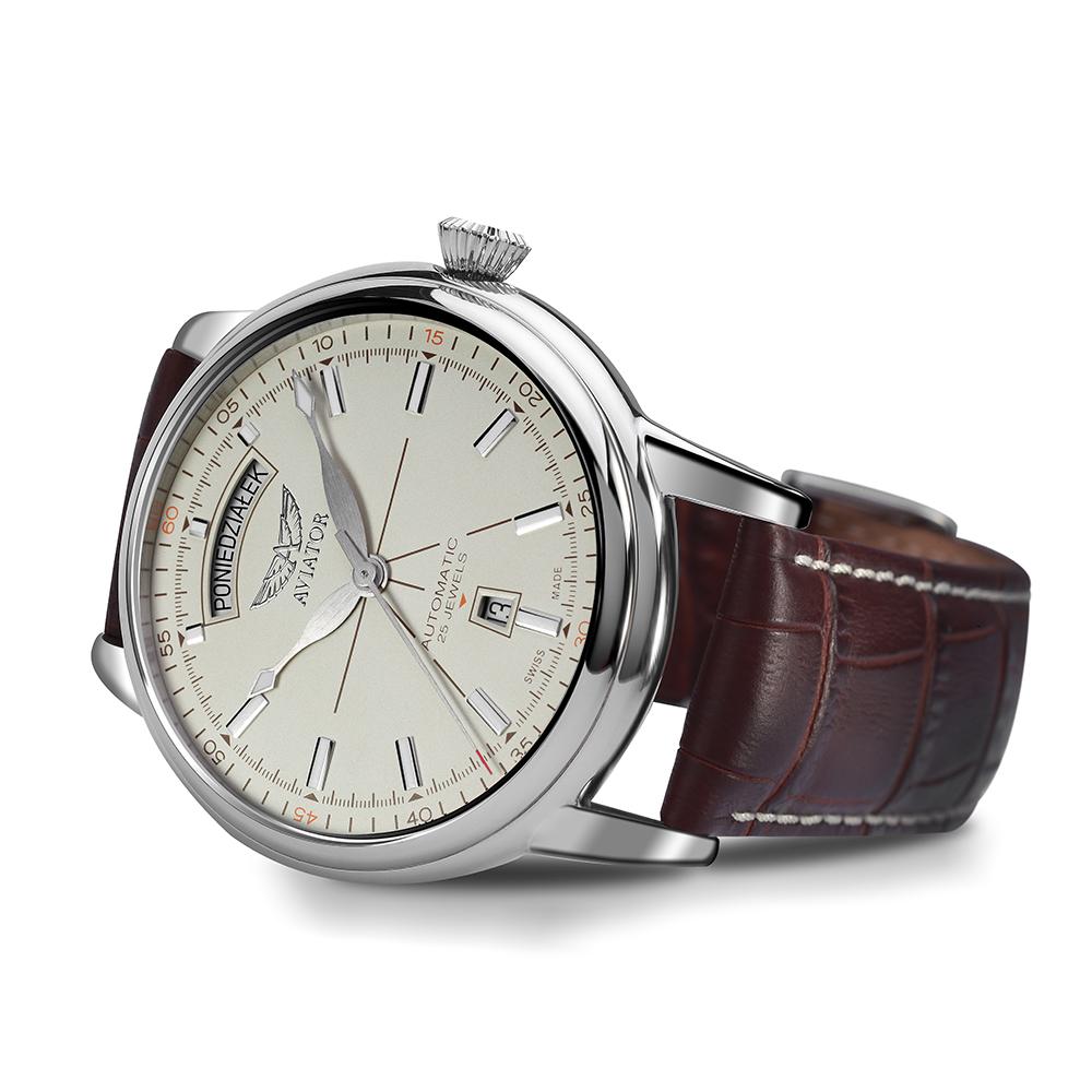 Luksusowy, męski zegarek Aviator V.3.20.0.141.4-PL Polska Edycja Limitowana na skórzanym brązowym pasku z srebrną stalową kopertą w okrągłym kształcie. Analogowa tarcza zegarka Aviator jest w beżowym kolorze z datownikiem i białymi indeksami. Wskazówki zegarka awiator są w srebrnym kolorze.
