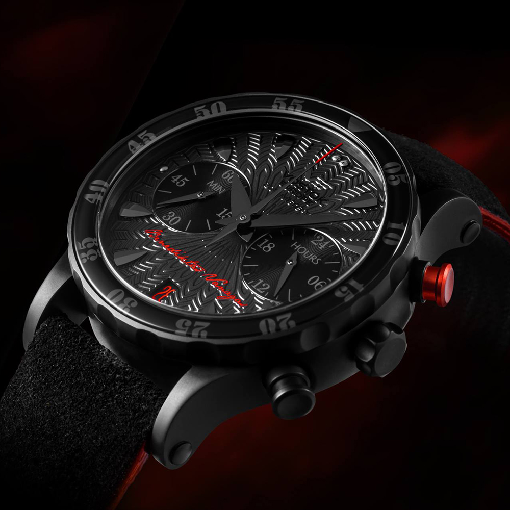Niepowtarzalny, damski zegarek Vostok Europe VK64-515C395 Undine Chrono Benediktas Vanagas na skórzanym czarnym pasku z czerwonymi akcentami z mechanizmem kwarcowym oraz tytanową kopertą pokrytą czarnym PVD.