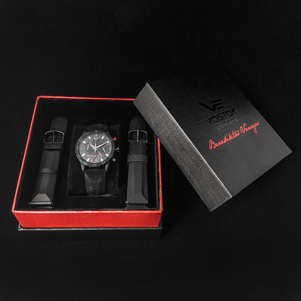 Niesamowity, damski zegarek Vostok Europe  VK64-515C395 Undine Chrono Benediktas Vanagas na czarnym pasku z tworzywa sztucznego oraz stalową kopertą pokrytą PVD.