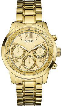 Modny, damski zegarek Guess W0330L1 na stalowej bransolecie i kopercie w kolorze złota. Tarcza zegarka jest złota łącznie z subtarczami, indeksami oraz wskazówkami.
