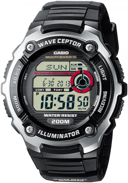 Sportowy, męski zegarek Casio WV-200E-1AVEF Waveceptor na pasku wykonanego z tworzywa sztucznego w czarnym kolorze koperta zrobiona jest ze stali oraz tworzywa sztucznego w dwóch kolorach takich jak srebro i czerń. Cyfrowa tarcza zegarka Casio jest czarna z czerwonymi akcentami.