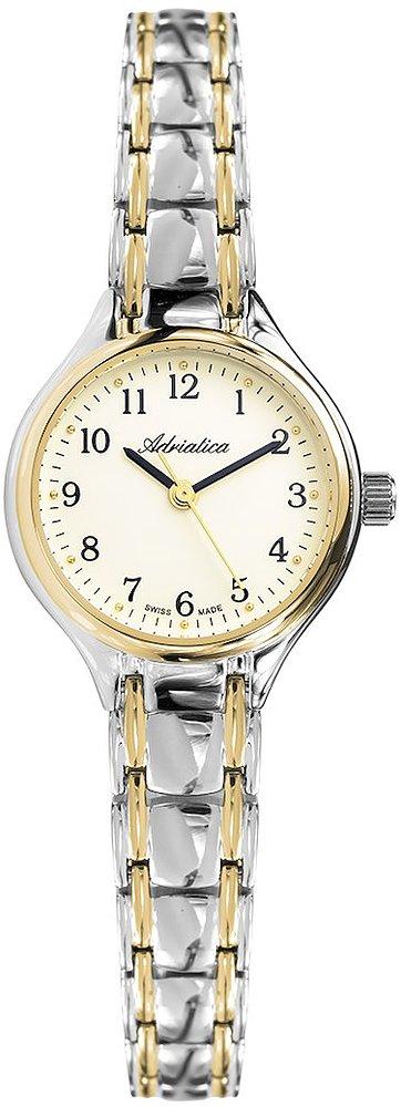 Klasyczny, damski zegarek Adriatica A3475.2121Q na srebrnej bransolecie w srebrnym oraz złotym kolorze, koperta zegarka jes okrągła w srebrno - złotym kolorze. Analogowa tarcza zegarka Adriatica jest w beżowym kolorze.