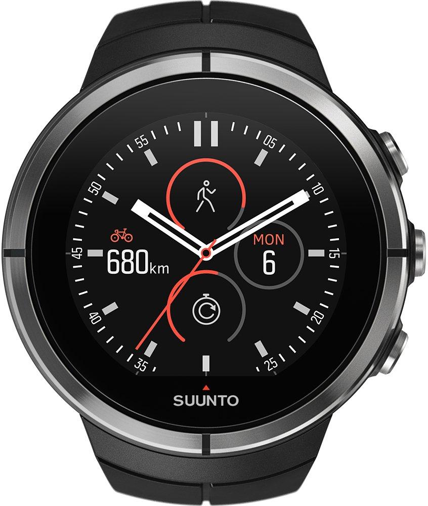 Sportowy, męski zegarek Suunto SS022659000 Spartan Ultra Black na silikonowym, czarnym pasku z koperta ze stali oraz tworzywa sztucznego w czarnym i srebrnym kolorze.