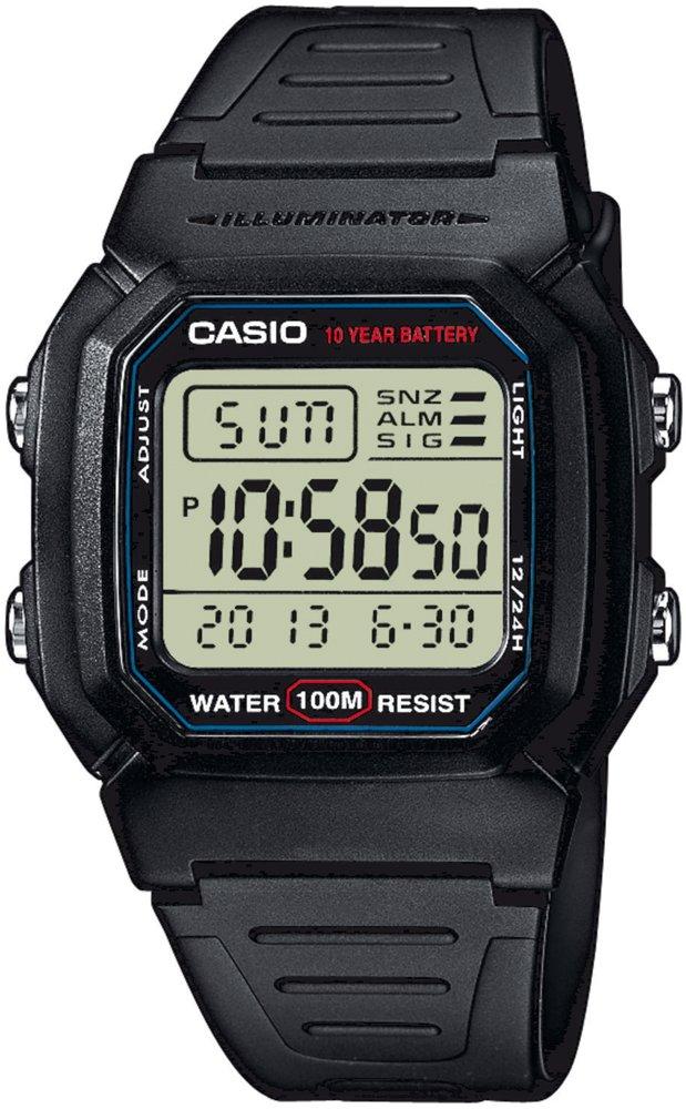 Sportowy, męski zegarek Casio W-800H-1AVEF na czarnym pasku z tworzywa sztucznego, kwadratowej kopercie z tworzywa sztucznego w kolorze czerni oraz tarcza zegarka cyfrowa z czarnym kolorze.