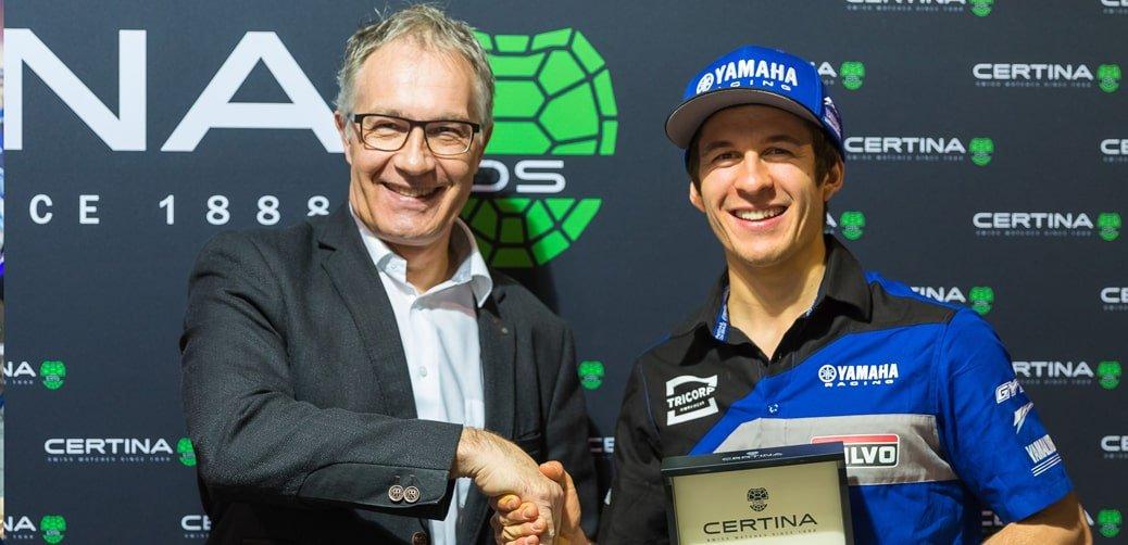 CEO marki Certina- Adrian Bosshard oraz należący do zespołu Wilvo Yamaha- Jeremy Seewer