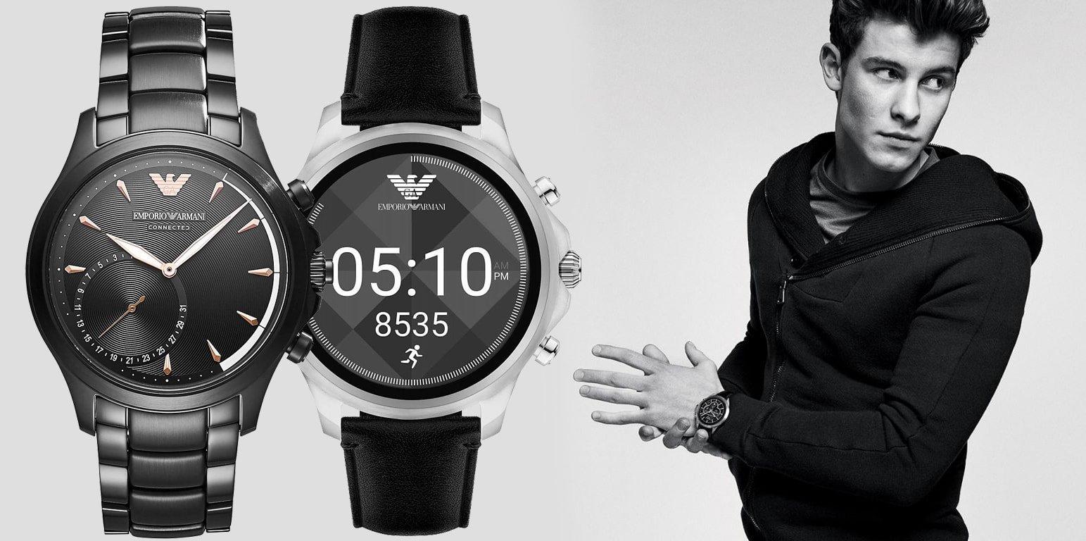Modne, męskie smartwatche Emporio Armani na czarnej klasycznej bransolecie oraz czarnym skórzanym pasku. Koperty zegarków są w czarnym jak i srebrnym kolorze. Tarcza jednego z zegarków jest cyfrowa w czarnym kolorze, zaś druga jest cyfrowa.